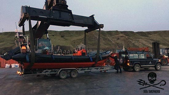 MV Spitfire on trailer at Scrabster Harbour having cleared customs 25th January 2017